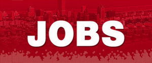 Big Jobs Word overlayed on red color city background.