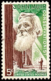 John Muir 1964 Commemorative 5 Cent Stamp.